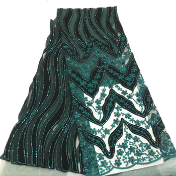 Green Color African Lace Fabric 2019 High Quality French Velvet Lace Fabric With Sequins Lace Fabric For Wedding Party KCD9133