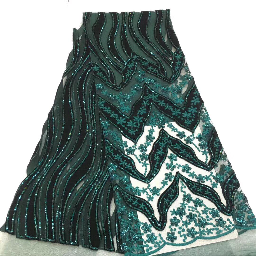 Zielony kolor afryki koronki tkaniny 2019 wysokiej jakości francuski aksamitna koronki tkanina z cekinami koronki tkaniny na wesele KCD9133 w Koronka od Dom i ogród na  Grupa 1