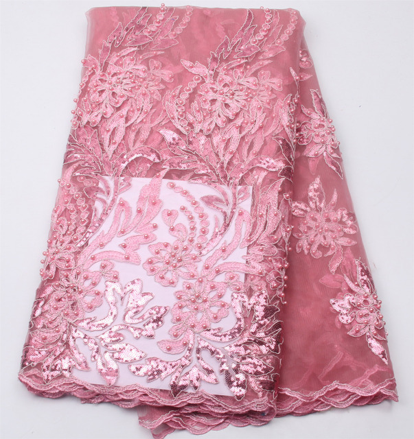 Pink french lace wholesale african wedding lace fabric sequins and beaded  embroidery lace for nigerian lace fabric PGC304b-3 ec2de35f1e50