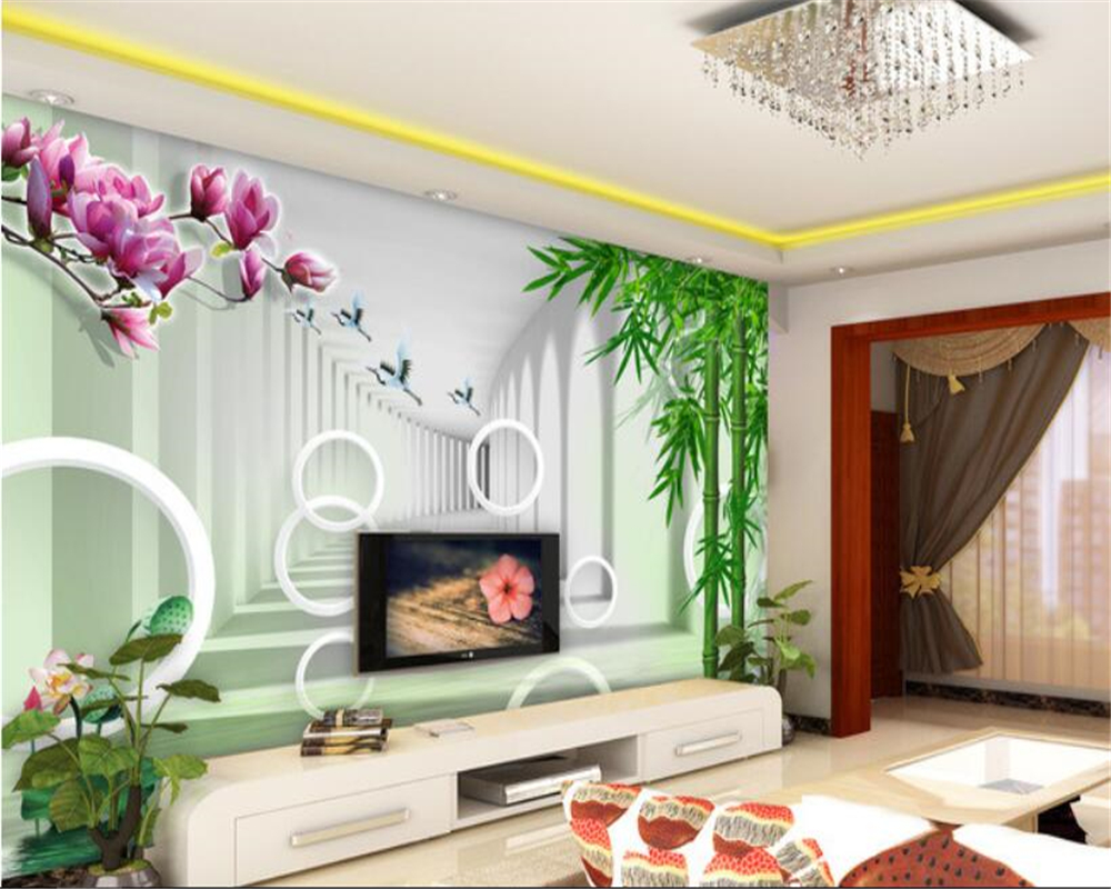 beibehang Can make any size personality wallpaper three-dimensional space magnolia bamboo bamboo TV wall papel de parede tapety