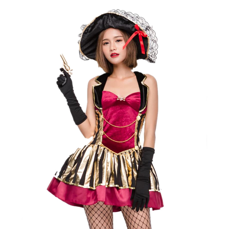 Deluxe Sexy Pirate Costume Women Adult Halloween Carnival Costumes Fantasia Fancy Dress Caribbean Pirates Costume