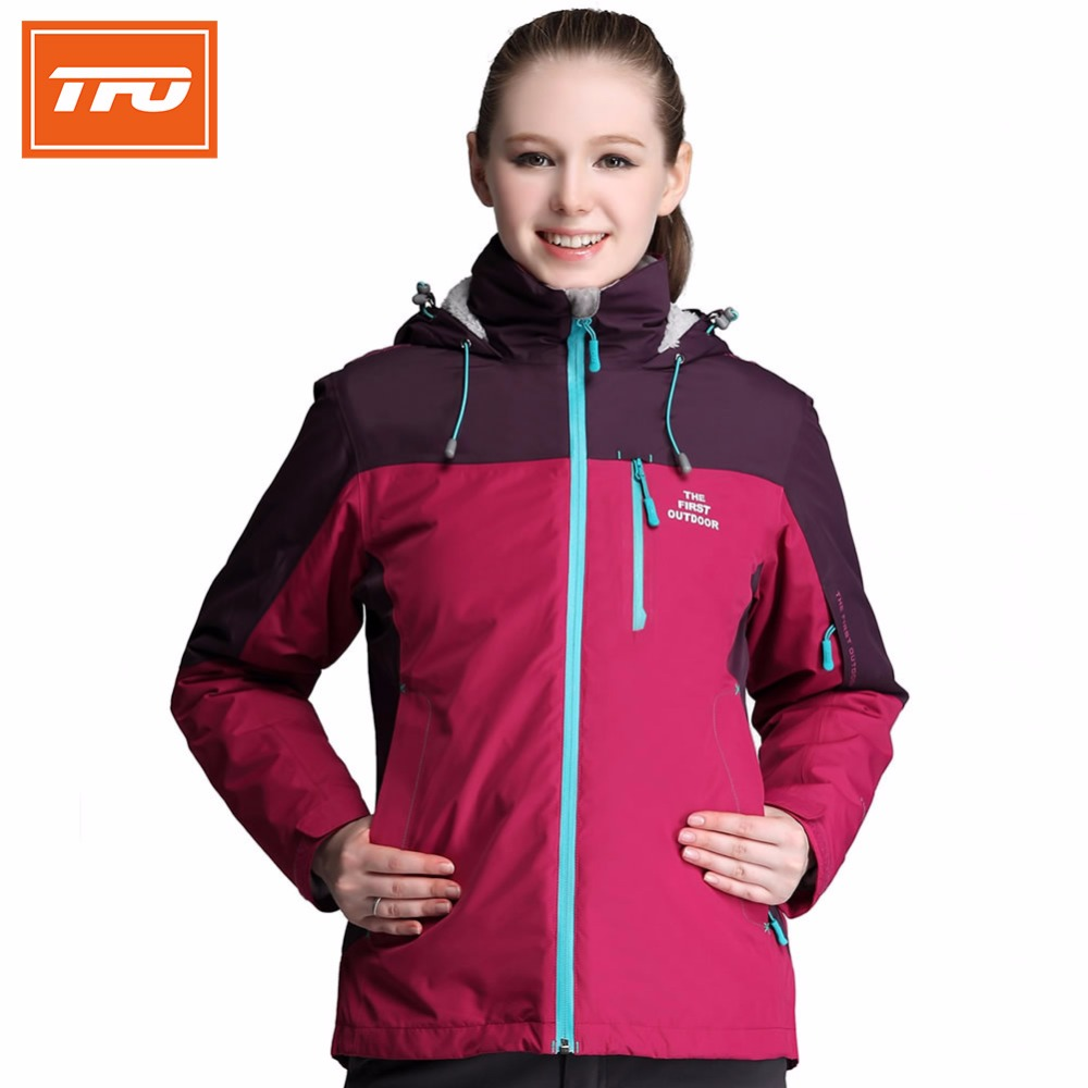 TFO Women hiking jackets Plush Fleece Jacket Waterproof Hiking Coat for Women rain jacket women raincoat outdoor flleece 6641407  raincoat women motorcycle all purpose rain suit rain coat rainwear hiking rain jacket for girl women