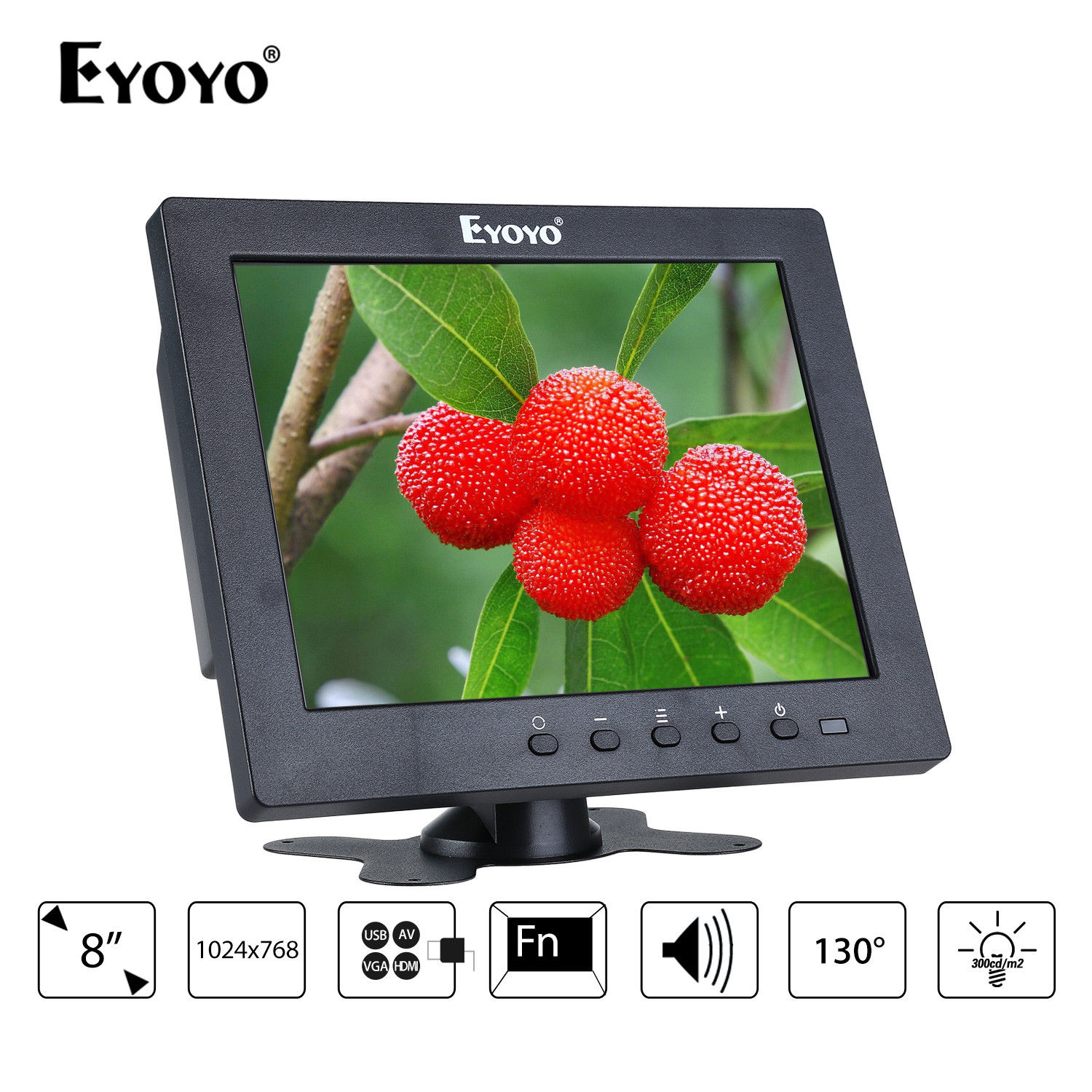 Eyoyo S801T Monitor 8 12ms 1024x768 LCD Screen Display With BNC/HDMl Output Built-in Loudspeakers For CCTV PC Laptop DVR Camera eyoyo g08 160 degree 8 inch 400 1 tft lcd monitor screen 4 3 1024 768 hdmi av vga video audio for cctv fpv with loudspeaker