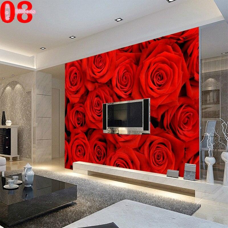 Papel de parede para sala vermelho cole o for Red flower wallpaper living room