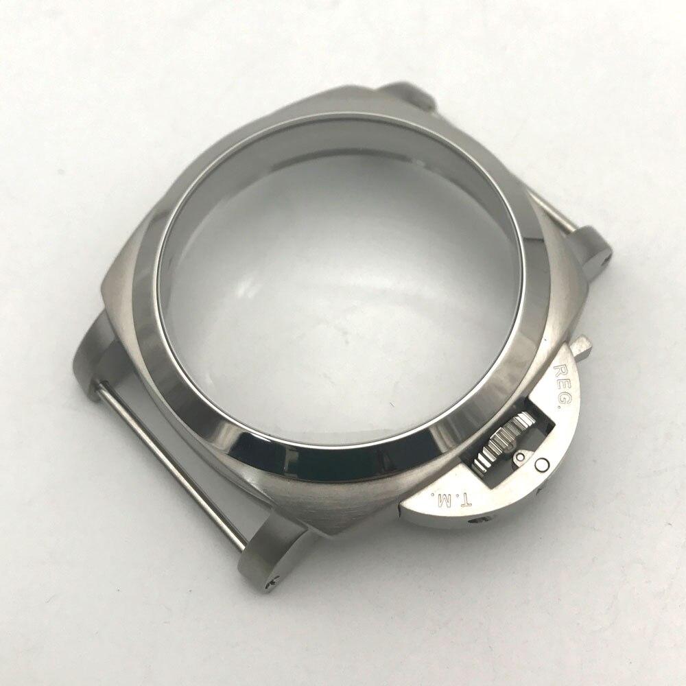 47mm ze stali nierdzewnej szczotkowane ręcznie nakręcany biały zegarki etui nadające się do ETA 6497/6498 ruch w null od Zegarki na  Grupa 1