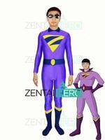Free Shipping Purple Male The Wonder Twins Zan Cosplay Costume Zentai Spandex Bodysuit Wonder Twins Superhero Costume Catsuit