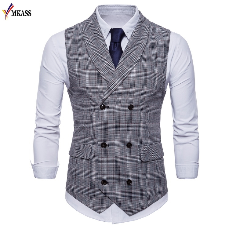 2018 New Brand Classic Plaid Suit Vest Men Slim Fit Double Breasted Vest Waistcoat Mens Business Wedding Tuxedo Vest Gilet Homme