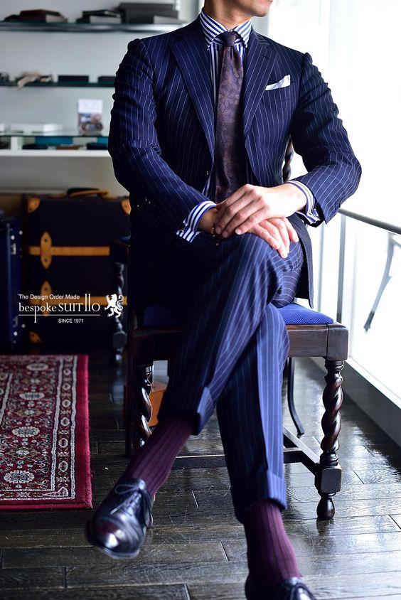 2017 Latest Coat Pant Designs Navy Blue Stripes Men Suit Slim Fit Tuxedo 2 Piece Blazer Prom Custom Brand Suits Terno Masculino