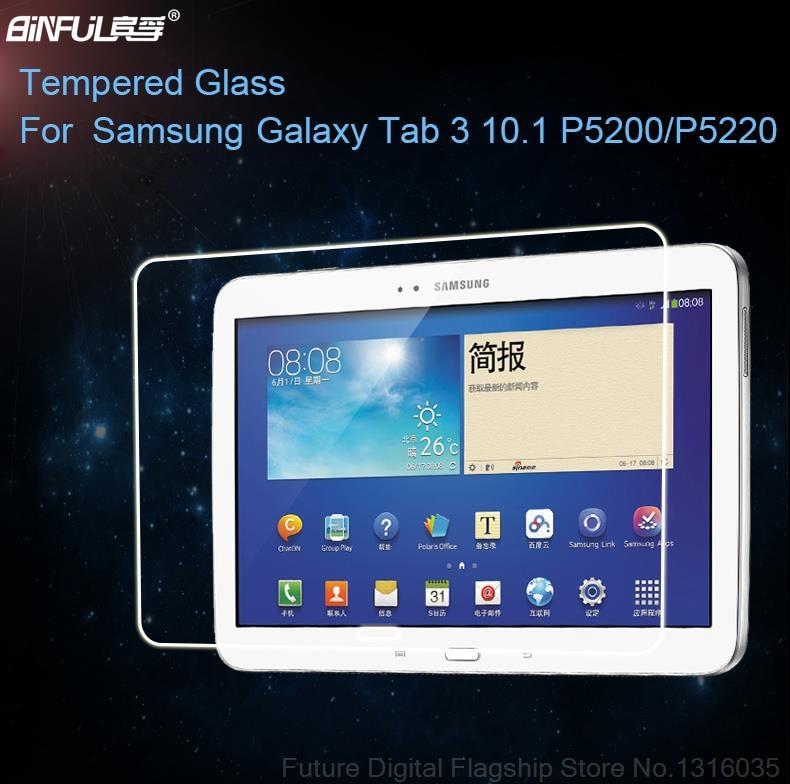 """BINFUL Premium 0.3mm grūdintas stiklas """"Samsung Galaxy Tab"""" 3 10.1 P5200 P5220 P5210 9H kieto skaidrumo ekrano plėvelė"""