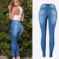High Quality 2016 New Fashion Long Pants Mid Waist Pocket Hole Bleached Skinny Pencil Pants Sexy Slim Women Jeans