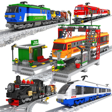 Model Building Kits Compatible Train City Carriage Rails Traffic Sets Blocks Educational Kids Toys Bricks Children Gifts цены