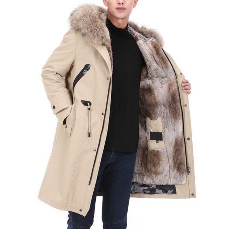 New Winter Men's Real Fur Hooded Coat Casual Army Tactical Jackets Brand Warm Male Natural Raccoon Fur Big Long Parka Overcoat