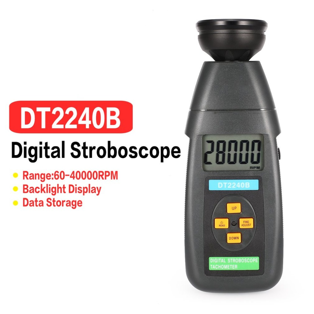 DT2240B Digital LCD Non-Contact Flash Stroboscope Tachometer Photoelectric Revolution Meter Speedometer Tester 60~19999RPM hot sale professional digital non contact stroboscope dm6237p flash frequency meter 60 19 999 rpm per minute tachometer tester