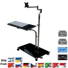 Ok610 suporte para monitor de computador, suporte ajustável para monitor de cabeceira e laptop com rotação, para laptop