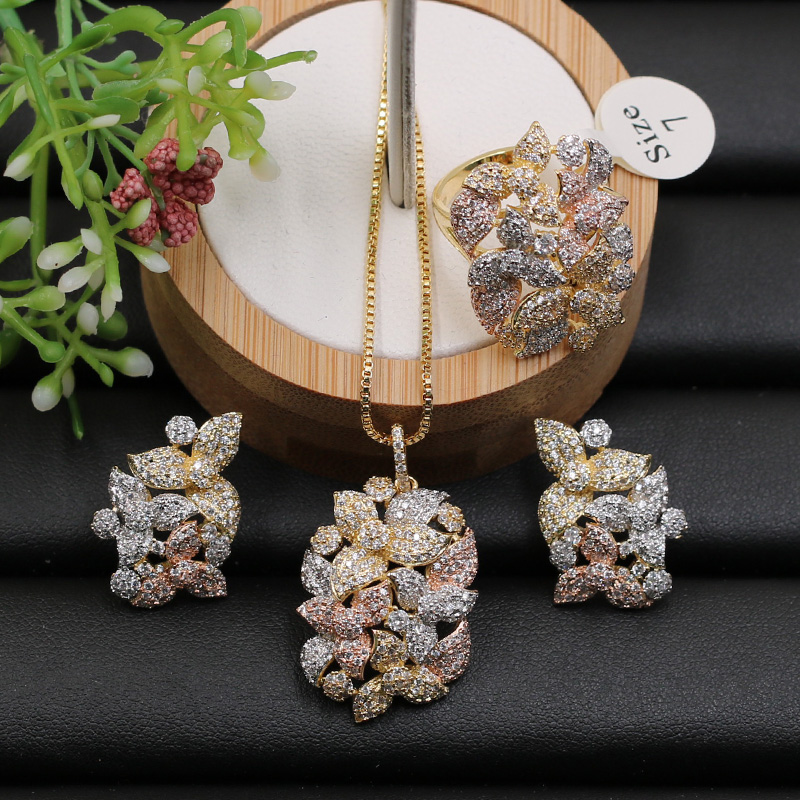 Fateama Jewelry Set New Luxury Delicate Flower Circle Micro Plated Necklace with Earrings and Ring for Engagement Trendy GiftFateama Jewelry Set New Luxury Delicate Flower Circle Micro Plated Necklace with Earrings and Ring for Engagement Trendy Gift