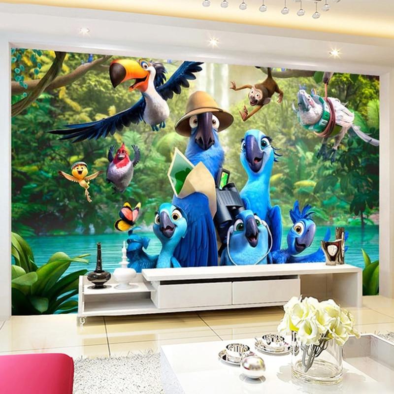 Custom Photo Mural Wallpaper 3D Cartoon Blue Parrot Poster Children's Room Bedroom Background Wall Non-woven Wallpaper De Parede