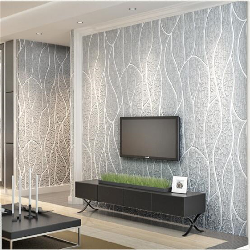 beibehang papier peint Living room TV wall wallpaper 3D stereo stripes modern simple bedroom non - woven wallpaper relief 0 53x10m modern blue gray green simple non woven wallpaper living room bedroom wedding room shop decoration wallpaper