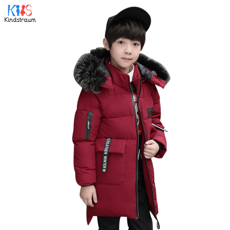 Kindstraum Super Warm Winter Boys Jacket Fur Hooded Brand Kids Thick Casual Coat Cotton Children Fashion Solid Outwear, MC908 цены онлайн