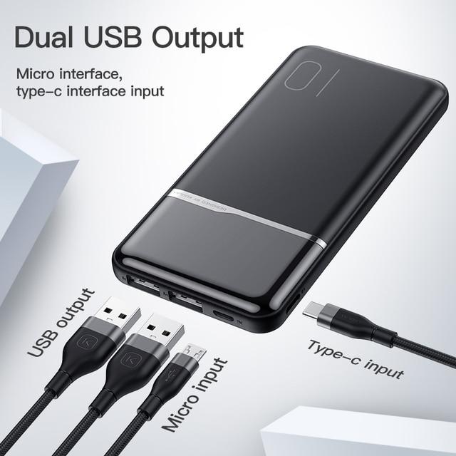 KUULAA Power Bank 10000 mAh Portable Charging PowerBank 10000mAh USB PoverBank External Battery Charger For Xiaomi Mi 9 8 Huawei