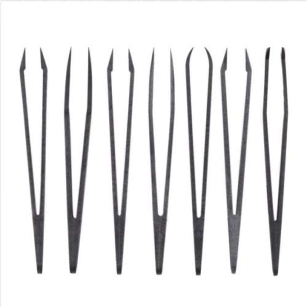 6pcs Portable Black Straight Bend Anti-static Plastic Tweezer Heat Resistant Repair Tool Free Shipping