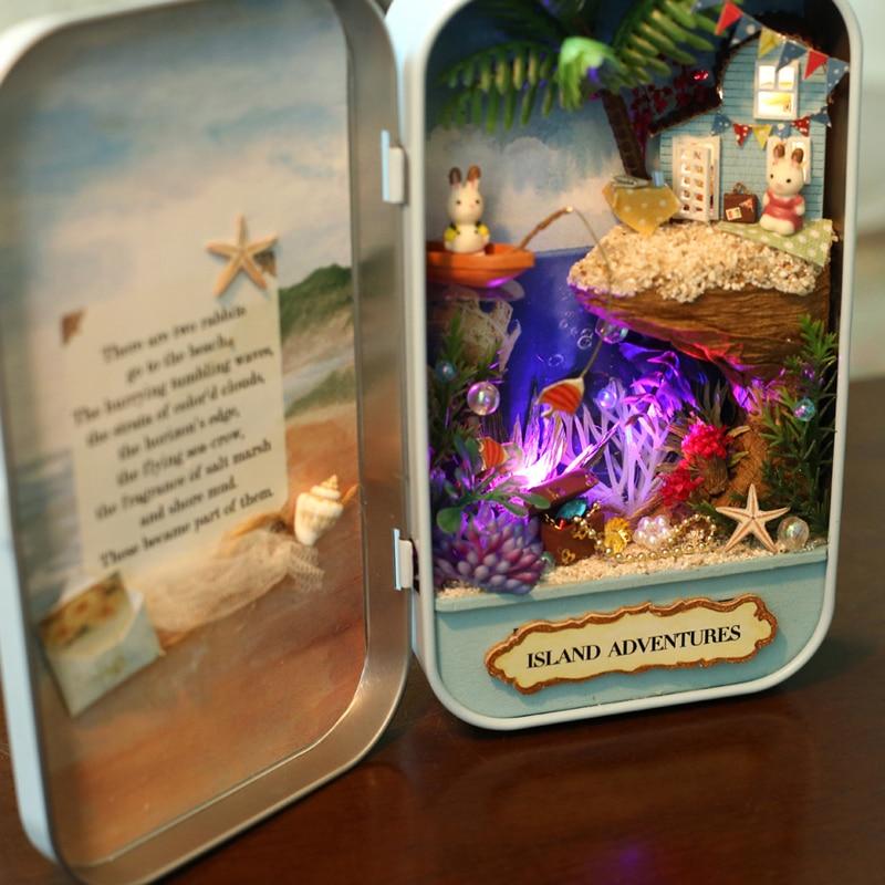 Элегантный DIY Кукольный дом Box Theatre игрушка натурального тема миниатюрные сцены 3D деревянная мебель Dollhouse River Island Приключения Q003 # D