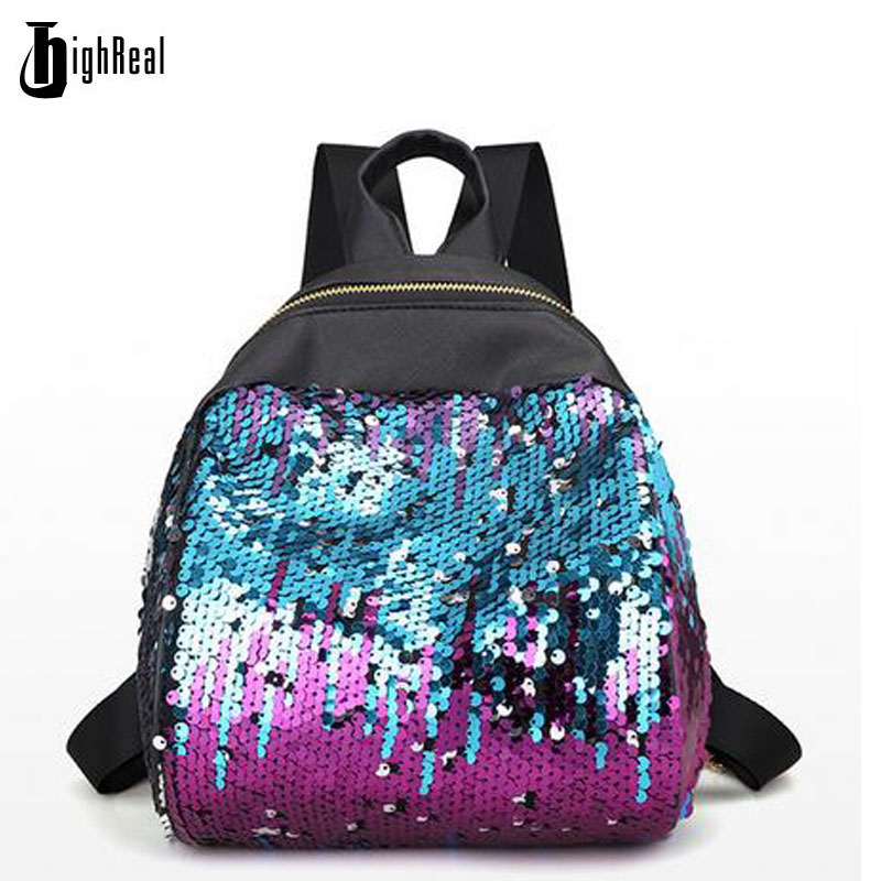 2017 New Mini Backpack Women All match Bag PU Leather Sequins Backpack Girls Small Travel Princess