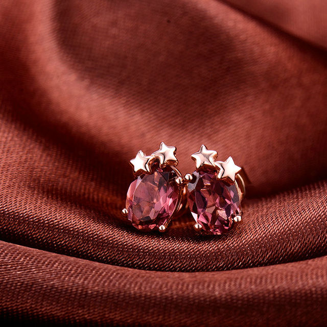 Nice Oval 5x7mm Solid 18K Rose Gold Natural Pink Tourmaline Wedding Earring Beautiful Design Gem Fine Jewelry for Wife WE033