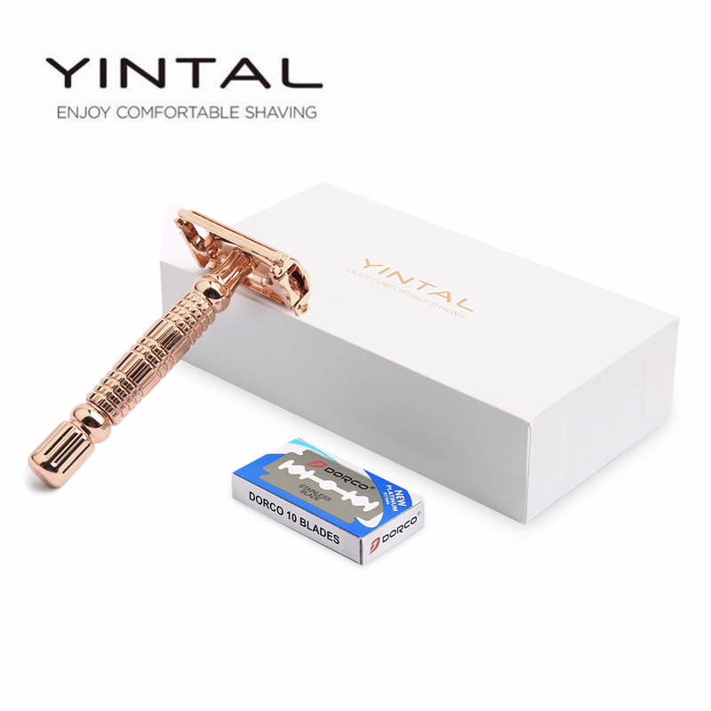 YINTAL Rose Gold Butterfly Öppna Double Edge Safety Razor Double Edge Razors 1 Razor 10 Blades 1Box