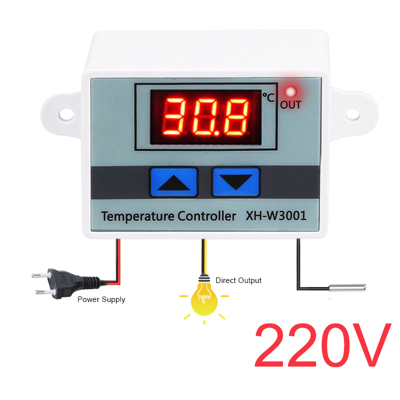 HTB1P9mbtqSWBuNjSsrbq6y0mVXab 10A 12V 24V 110V 220VAC Digital LED Temperature Controller XH-W3001 For Incubator Cooling Heating Switch Thermostat NTC Sensor