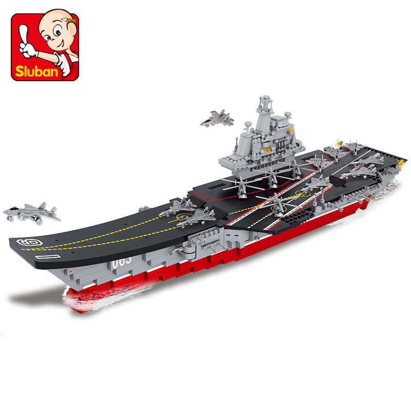 Sluban Building Block Military WW2 Aircraft Boat Carrier 1058pcs Educational Bricks Toy Boy No retail box