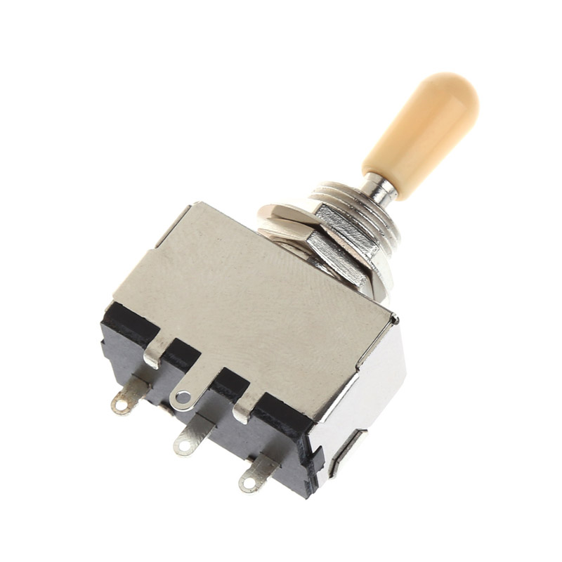 Chrome Box Style 3 Way Closed Toggle Switch For Electric Guitar Cream Knob