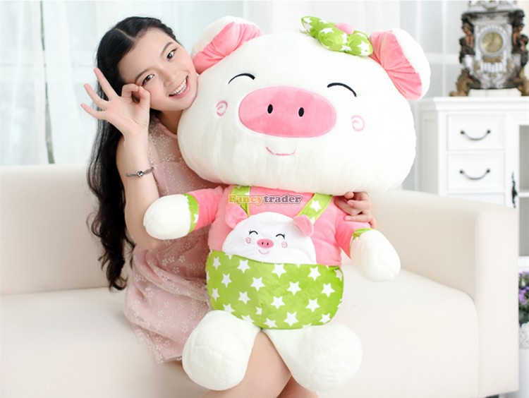 Fancytrader Lovely High Quality Cute Pig Toy 35'' 90cm Giant Cute Big Plush Stuffed Pig Animal Kids gift, Free Shipping FT90489 fancytrader 2015 new 31 80cm giant stuffed plush lavender purple hippo toy nice gift for kids free shipping ft50367