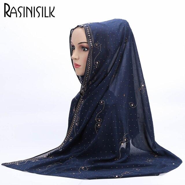 68*168 см Горячее Надувательство женские Шарфы Хиджаб Мусульманской Моды Изысканный Долго Заклепки Декоративные Платок 14 Цветов Для выбрать # A002