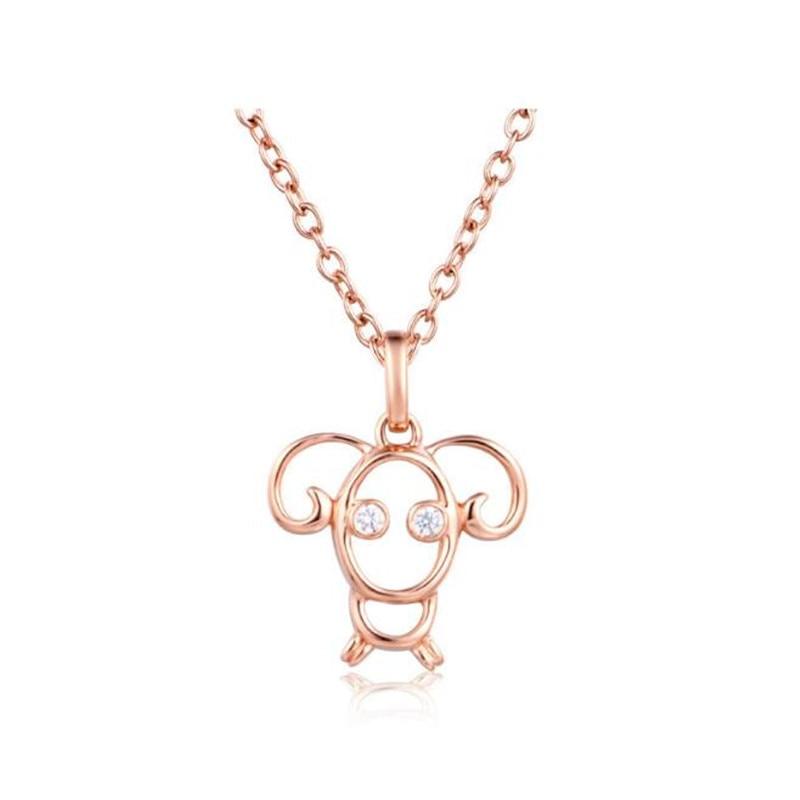 18 K or bélier signe du zodiaque colliers et pendentifs couleur or Rose zircon cubique Constellations bijoux hommes femmes Valentine cadeau