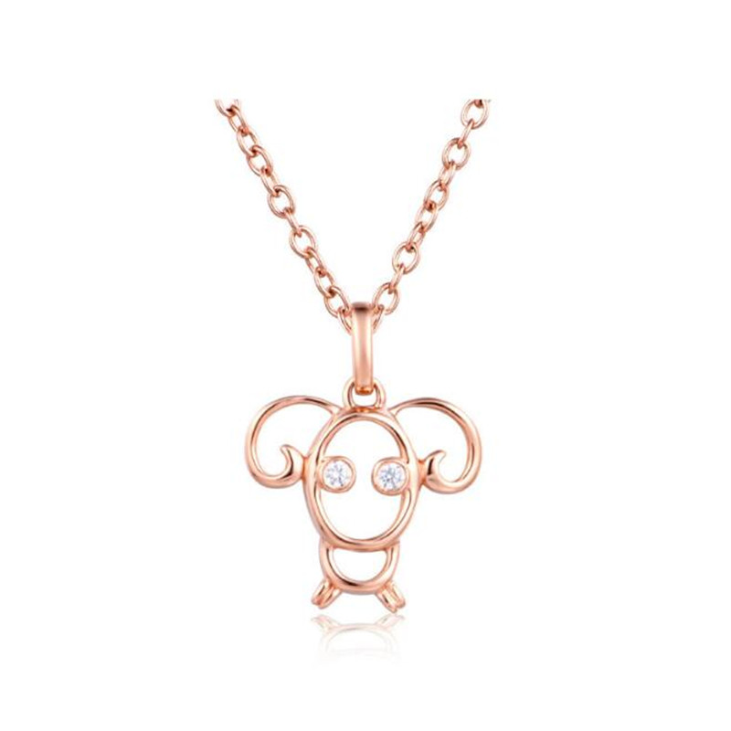 18K Gold Aries Zodiac Sign Necklaces & Pendants Rose Gold Color Cubic Zirconia Constellations Jewelry Men Women Valentine Gift