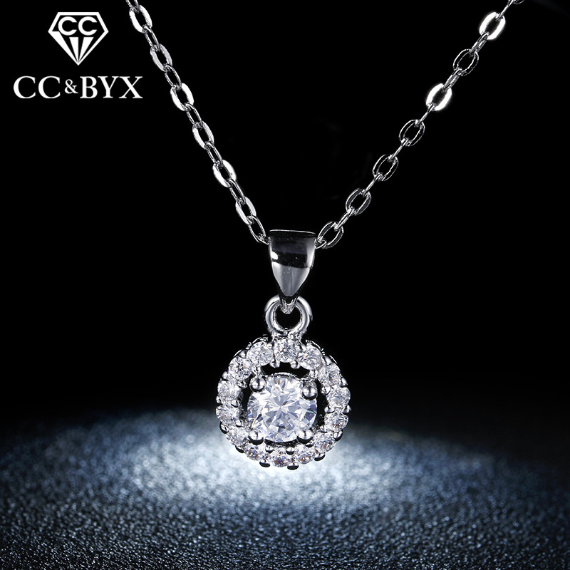 Women's Pendant Necklace White Gold Color Fashion Jewelry For Women Vintage Wedding Engagement Chain Necklace Wholesale N001
