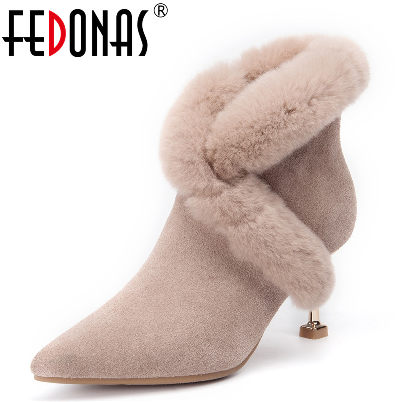 FEDONAS Women Ankle Boots Zip Pointed Toe Footwear High Heels Female Boots Party Shoes Woman 2019 New Winter Snow Boots 2018 new arrival denim ripped ankle boots sexy pointed toe winter boots female footwear women s high strange heel shoes side zip