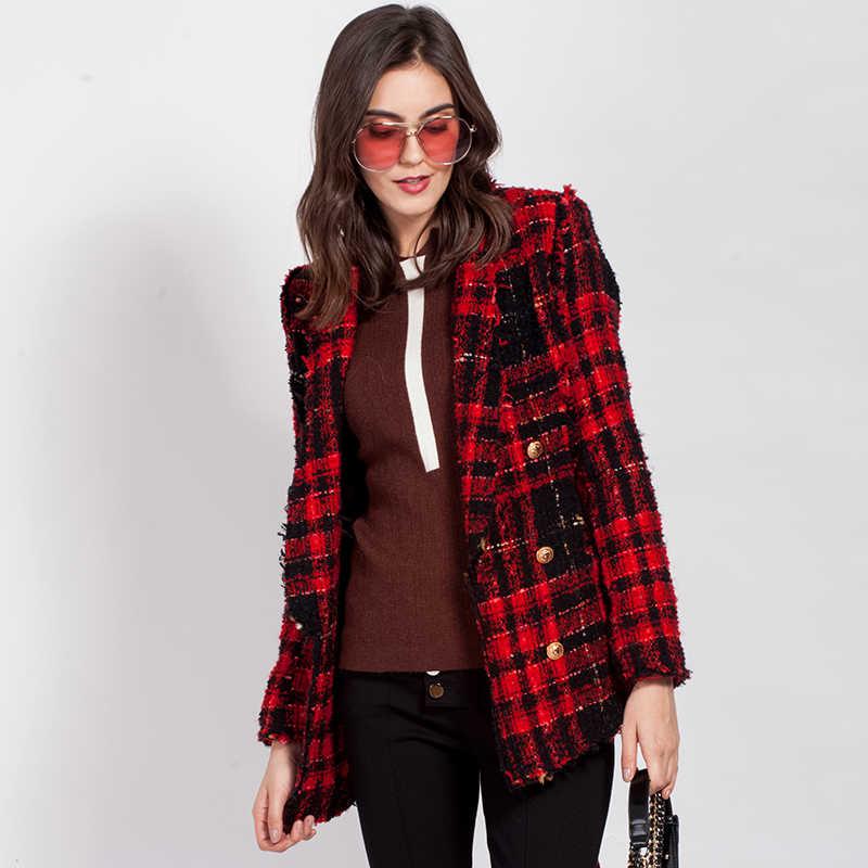 4ce71df171f ... 2018 Новая женская модная шерстяная куртка с поясом Женская клетчатая  твидовая шерстяная куртка двубортная повседневная куртка ...