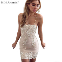 M H Artemis Sexy Floral Embroidery Sequin Lace Bodycon Mini Dress Sexy Tie Up Dress Shiny