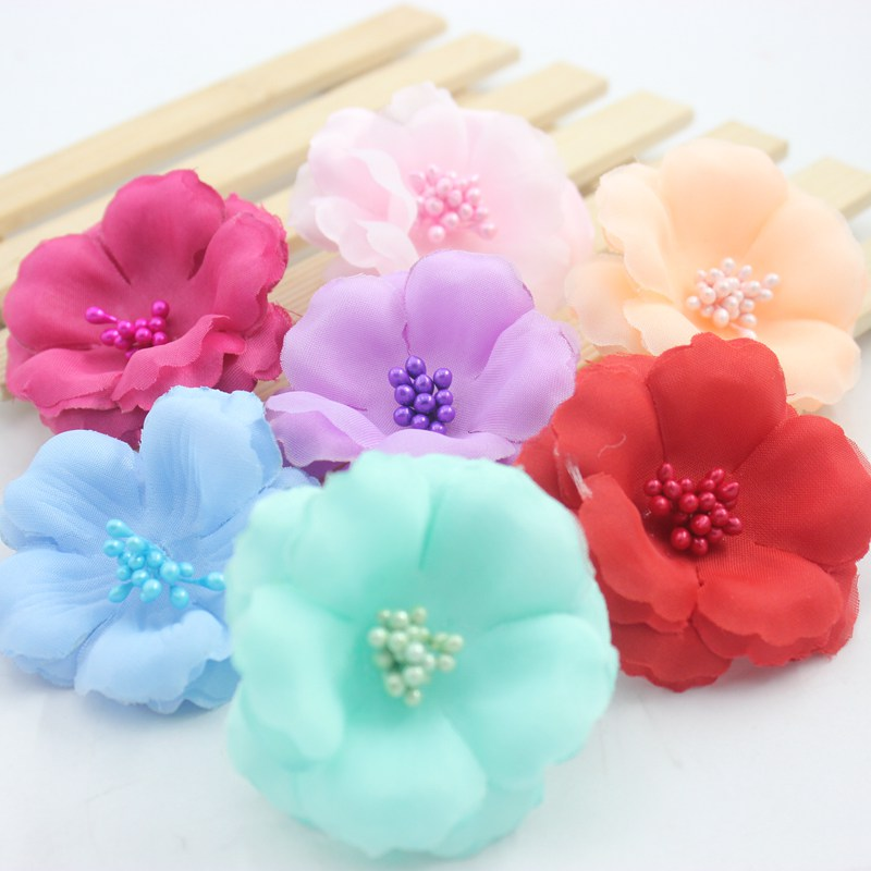 5 pcs Pink Silk Flower petal ball-flower hat shoes clothes pajamas flower wreath Christmas Decorative Materials 6 cm