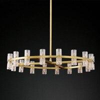 Villa Living Room American RH Led Pendant Lamp Round Lustre K9 Crystal Shade Pendant Light G4 Luminaria Rod Suspend Lamp Fixture