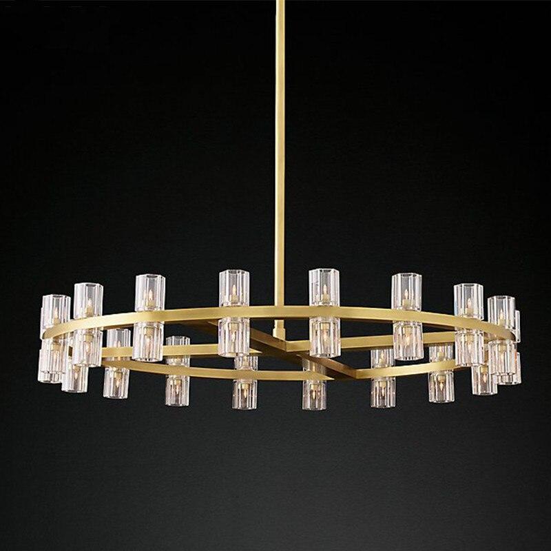 Villa salon lampe américaine RH pendentif LED Lustre rond K9 abat-jour en cristal suspension G4 Luminaria tige suspension lampe luminaire