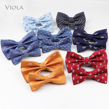 Parent-Child Cartoon Butterfly Polyester Jacquard Figured Cloth Men Bowtie Adult Party Festival Bow Tie Cravat Accessory Gift