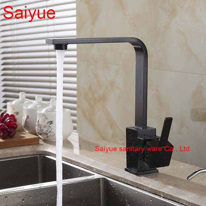 New Arrival European Style Vintage Antique Polished Black Brass Swivel Kitchen Sink Faucet 360 degree rotating