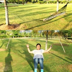 Image 4 - A rede de acampamento de malha com barra de madeira 80cm única pessoa corda de náilon pendurado cadeira com corda de árvore verão balanço cama