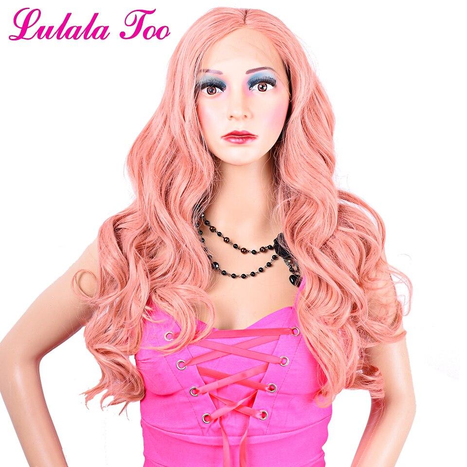 Pastel Rosa Longa Peruca Dianteira Do Laço Sintético Para As Mulheres Rosa Pêssego Cor Natural Ondulado Glueless 30 Realista Cabelo Resistente Ao Calor polegada