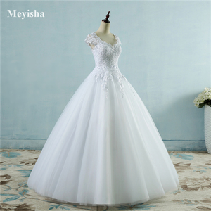 Image 3 - ZJ9085 תחרה לבן שנהב קצר שווי שרוול חתונת שמלות 2019 2020 שמלת כלה כלה בציר בתוספת גודל מקסי לקוחות עשה