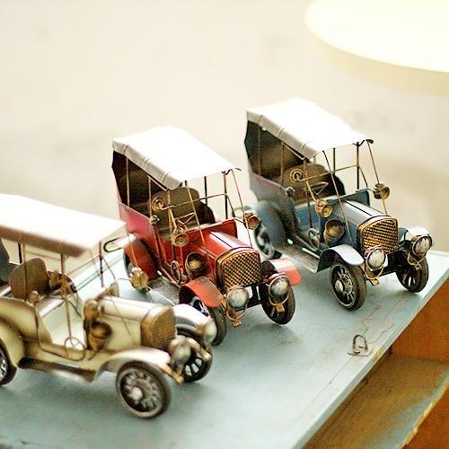 Vintage decor metal craft retro car model home office for Antique car decor