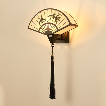 New Chinese Corridor Living Room TV Background Wall Bedroom Bedside Lamp Imitation Classical Fan-shaped LED Wall Light Fixture