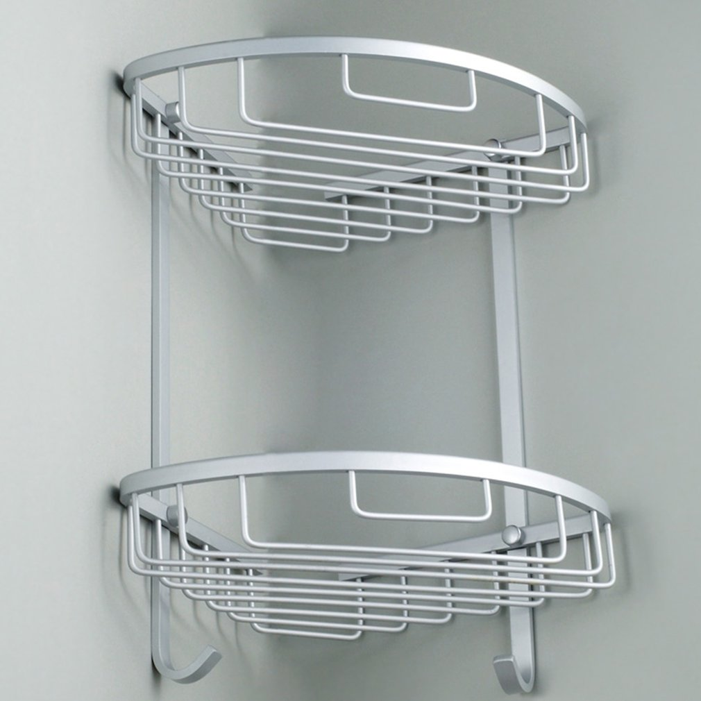 Bathroom Corner Shelf 2 Layer Space Double Tiers Triangle Shower Basket Shampoo Soap Cosmetic Storage Shelves Rack Aluminum New